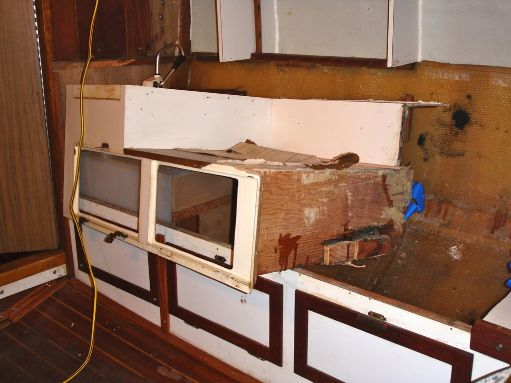 Remove Countertop Stove : Removing the stove and sink countertop. Cruising Under Sail.com